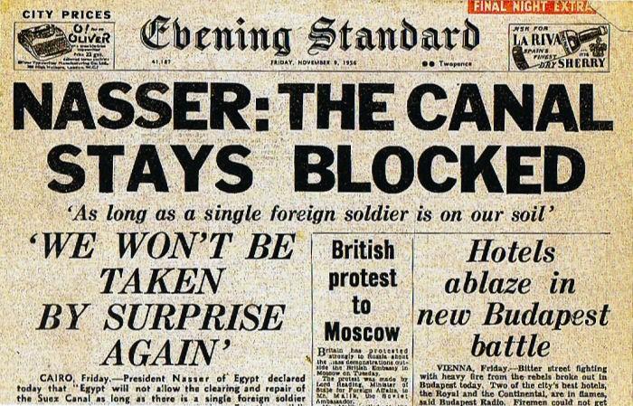 Journal anglais traitant de la crise de Suez
