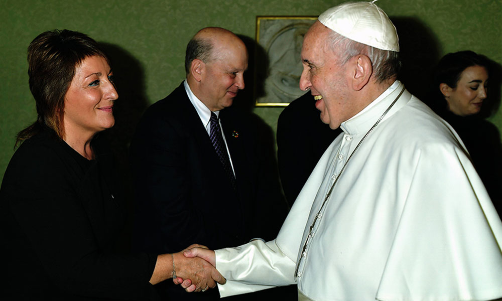 Ariane Slinger with Pope Francis in Vatican City